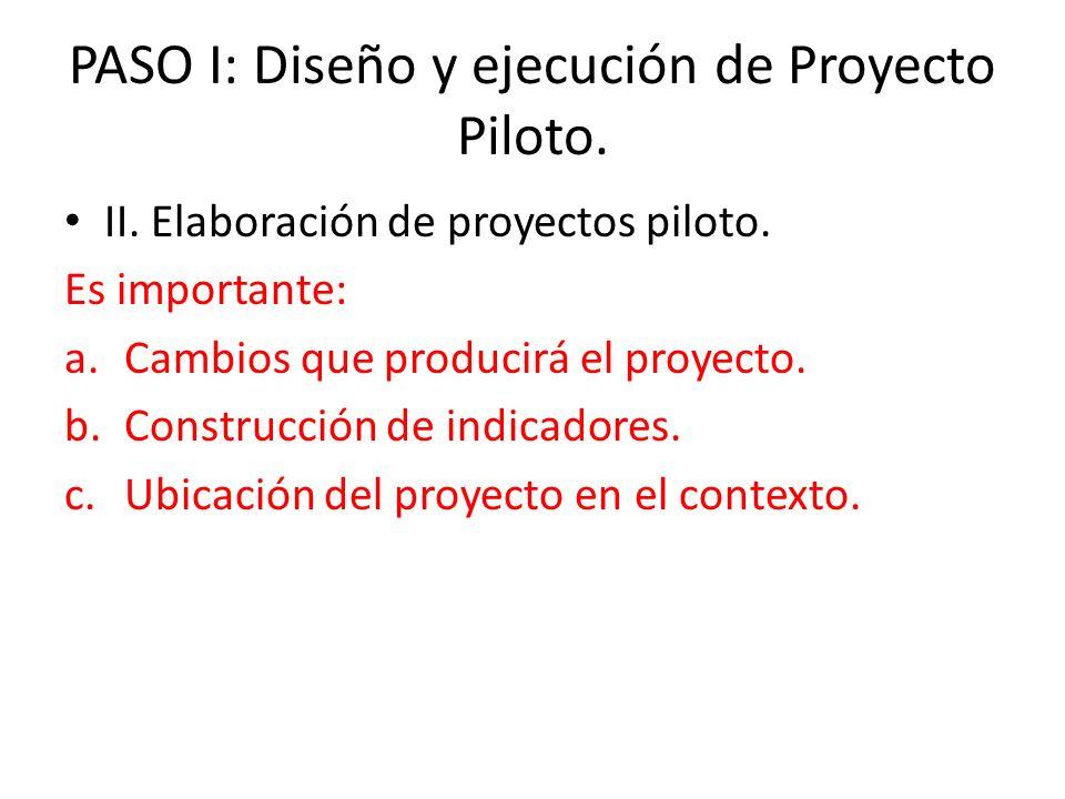 II. Elaboración de proyectos piloto. Es importante: a.Cambios que producirá el proyecto. b.Construcción de indicadores. c.Ubicación del proyecto en el