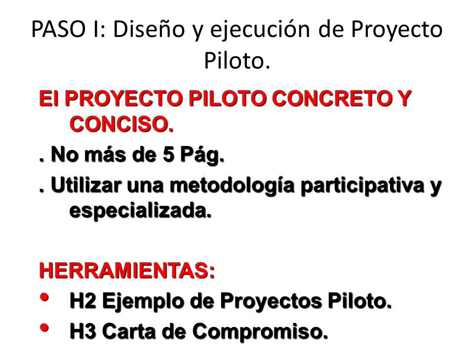El PROYECTO PILOTO CONCRETO Y CONCISO.. No más de 5 Pág.. Utilizar una metodología participativa y especializada. HERRAMIENTAS: H2 Ejemplo de Proyecto