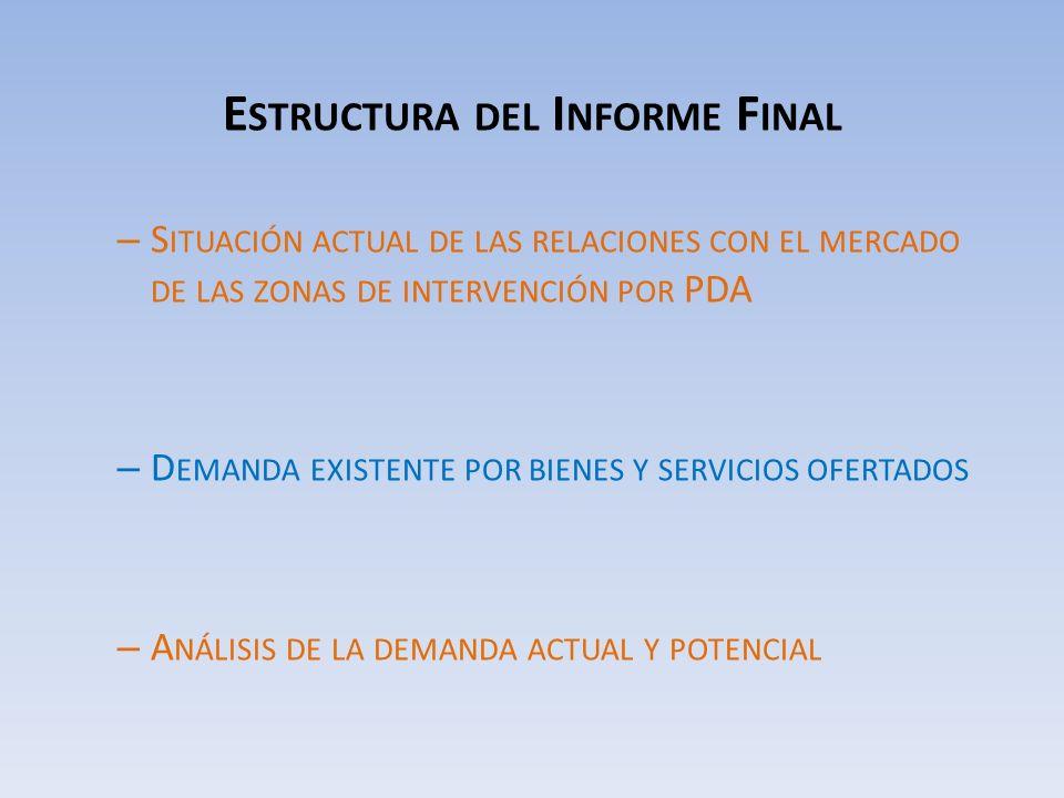 E STRUCTURA DEL I NFORME F INAL – S ITUACIÓN ACTUAL DE LAS RELACIONES CON EL MERCADO DE LAS ZONAS DE INTERVENCIÓN POR PDA – D EMANDA EXISTENTE POR BIENES Y SERVICIOS OFERTADOS – A NÁLISIS DE LA DEMANDA ACTUAL Y POTENCIAL