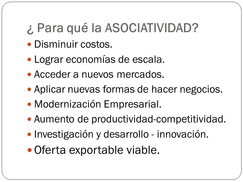 ¿ Para qué la ASOCIATIVIDAD? Disminuir costos. Lograr economías de escala. Acceder a nuevos mercados. Aplicar nuevas formas de hacer negocios. Moderni