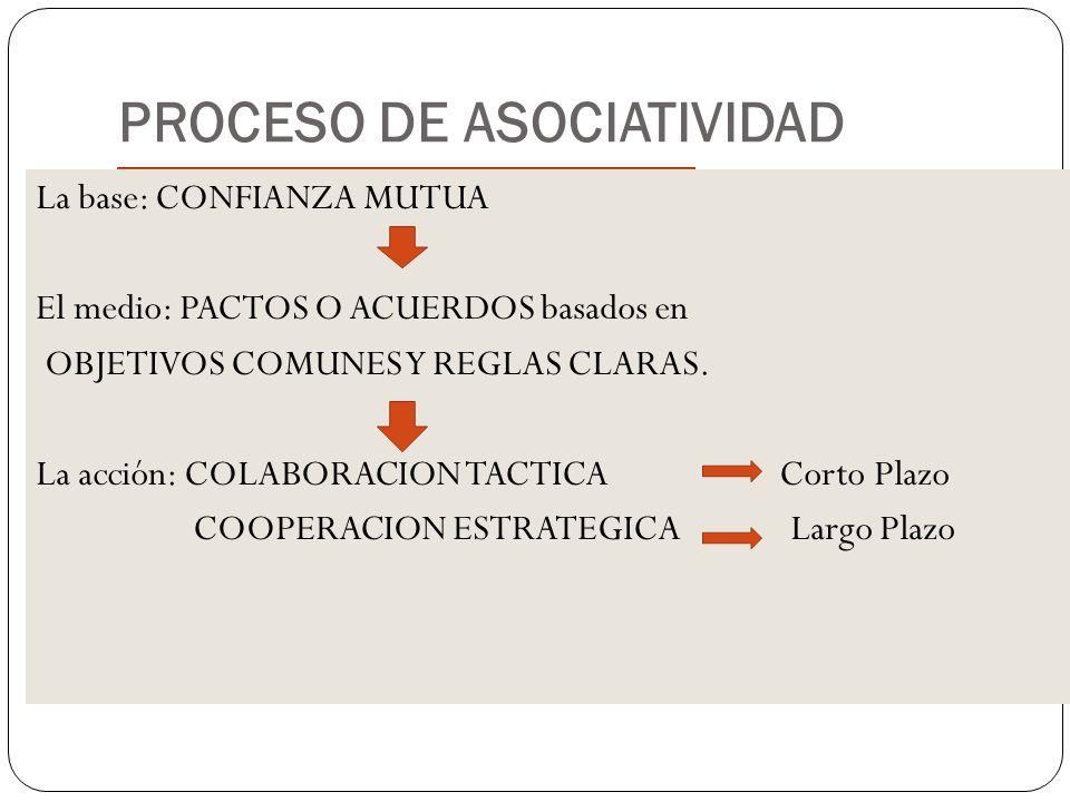 PROCESO DE ASOCIATIVIDAD La base: CONFIANZA MUTUA El medio: PACTOS O ACUERDOS basados en OBJETIVOS COMUNES Y REGLAS CLARAS. La acción: COLABORACION TA
