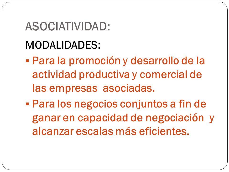 ASOCIATIVIDAD: MODALIDADES: Para la promoción y desarrollo de la actividad productiva y comercial de las empresas asociadas. Para los negocios conjunt