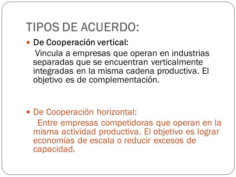 TIPOS DE ACUERDO: De Cooperación vertical: Vincula a empresas que operan en industrias separadas que se encuentran verticalmente integradas en la mism