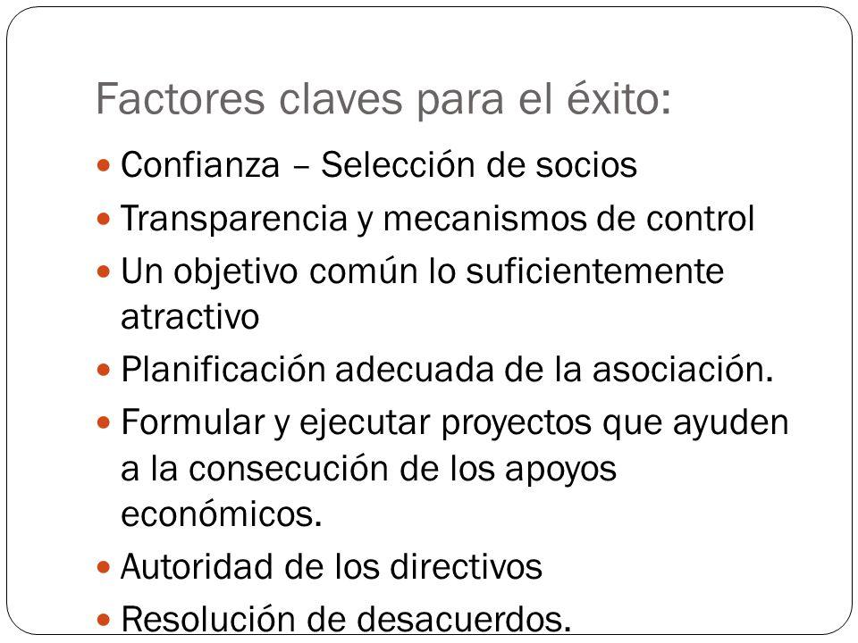 Factores claves para el éxito: Confianza – Selección de socios Transparencia y mecanismos de control Un objetivo común lo suficientemente atractivo Pl