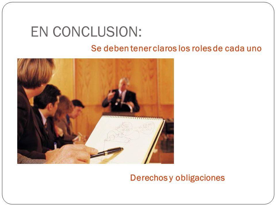 EN CONCLUSION: Se deben tener claros los roles de cada uno Derechos y obligaciones