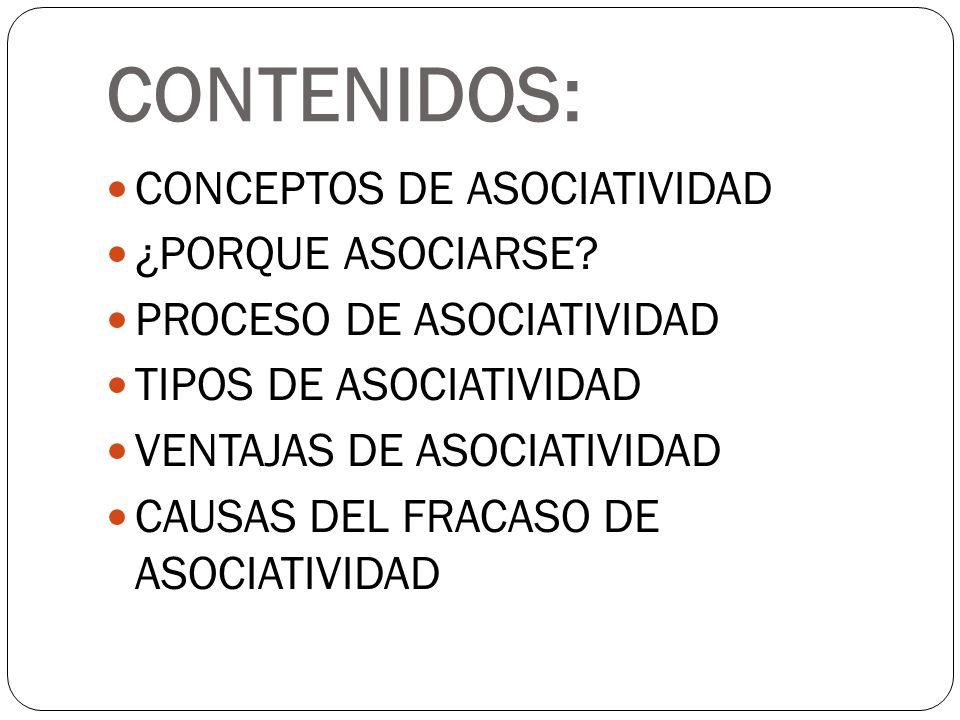 CONTENIDOS: CONCEPTOS DE ASOCIATIVIDAD ¿PORQUE ASOCIARSE? PROCESO DE ASOCIATIVIDAD TIPOS DE ASOCIATIVIDAD VENTAJAS DE ASOCIATIVIDAD CAUSAS DEL FRACASO