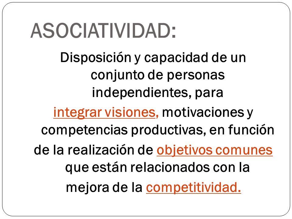 ASOCIATIVIDAD: Disposición y capacidad de un conjunto de personas independientes, para integrar visiones, motivaciones y competencias productivas, en