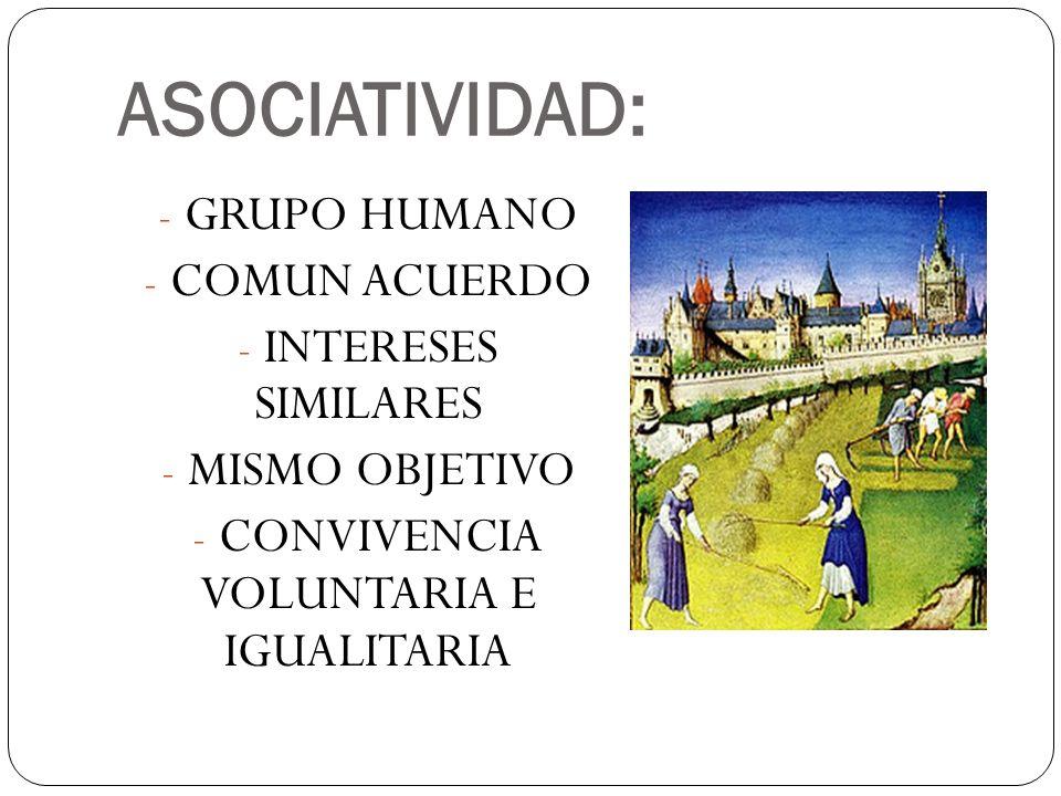 ASOCIATIVIDAD: - GRUPO HUMANO - COMUN ACUERDO - INTERESES SIMILARES - MISMO OBJETIVO - CONVIVENCIA VOLUNTARIA E IGUALITARIA