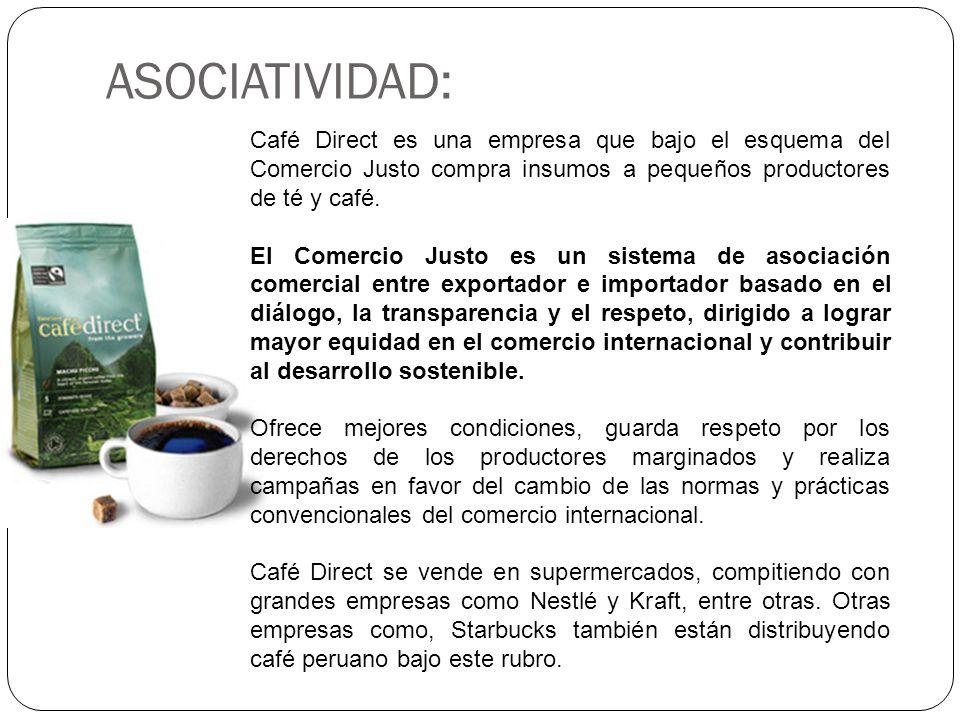 ASOCIATIVIDAD: Café Direct es una empresa que bajo el esquema del Comercio Justo compra insumos a pequeños productores de té y café. El Comercio Justo