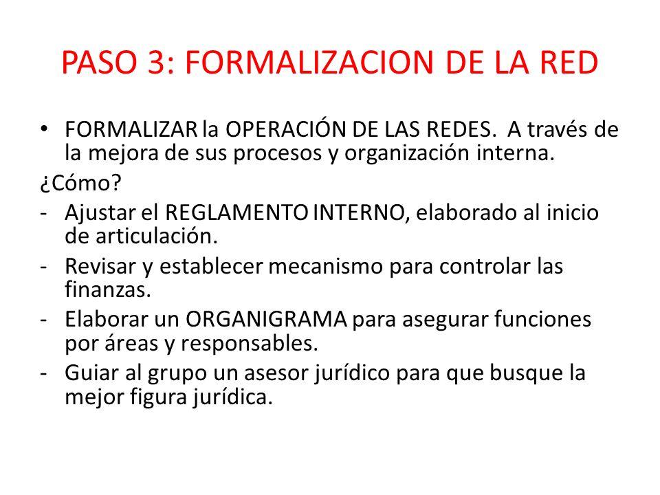 PASO 3: FORMALIZACION DE LA RED FORMALIZAR la OPERACIÓN DE LAS REDES. A través de la mejora de sus procesos y organización interna. ¿Cómo? -Ajustar el