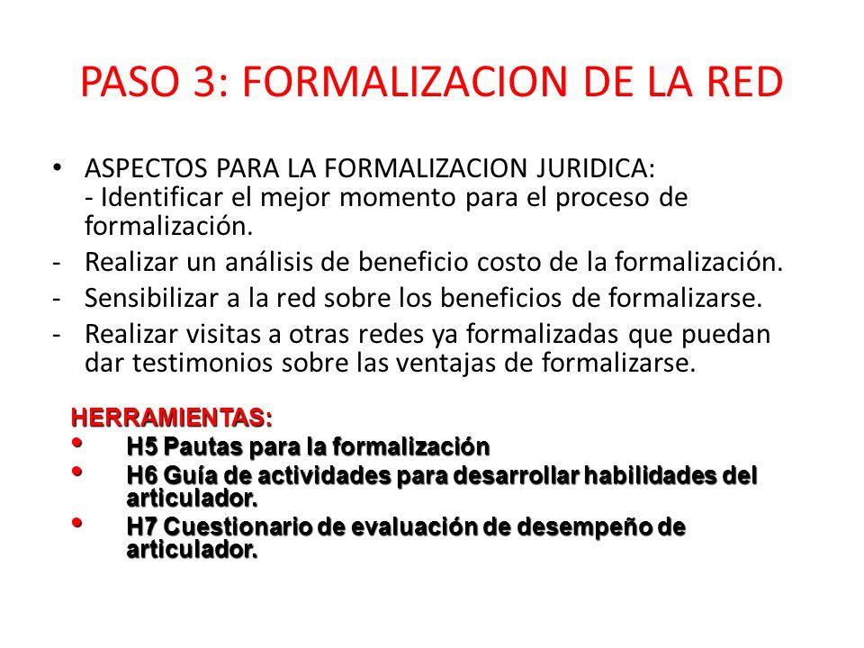 PASO 3: FORMALIZACION DE LA RED ASPECTOS PARA LA FORMALIZACION JURIDICA: - Identificar el mejor momento para el proceso de formalización. -Realizar un