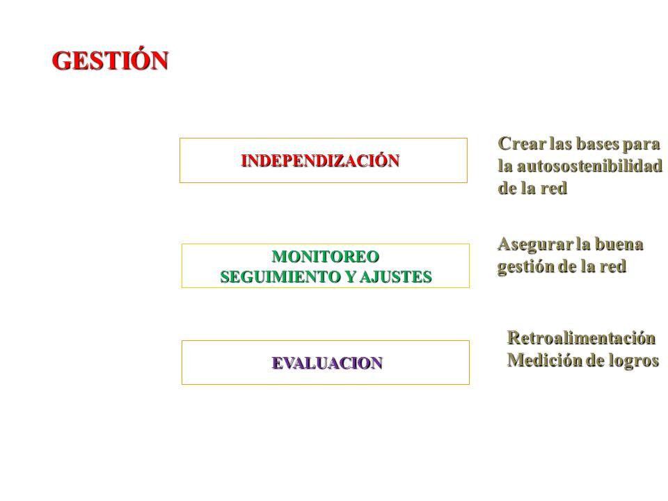 GESTIÓN Crear las bases para la autosostenibilidad de la red Asegurar la buena gestión de la red EVALUACION EVALUACION Retroalimentación Medición de logros INDEPENDIZACIÓN MONITOREO SEGUIMIENTO Y AJUSTES