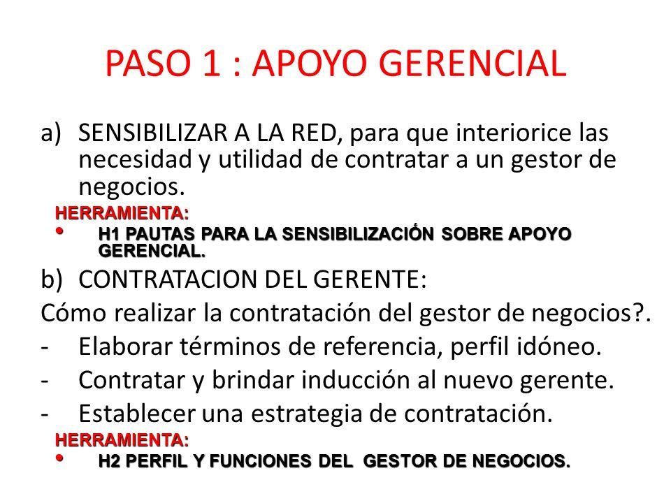 PASO 1 : APOYO GERENCIAL a)SENSIBILIZAR A LA RED, para que interiorice las necesidad y utilidad de contratar a un gestor de negocios.HERRAMIENTA: H1 PAUTAS PARA LA SENSIBILIZACIÓN SOBRE APOYO GERENCIAL.