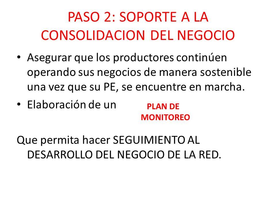 PASO 2: SOPORTE A LA CONSOLIDACION DEL NEGOCIO Asegurar que los productores continúen operando sus negocios de manera sostenible una vez que su PE, se encuentre en marcha.
