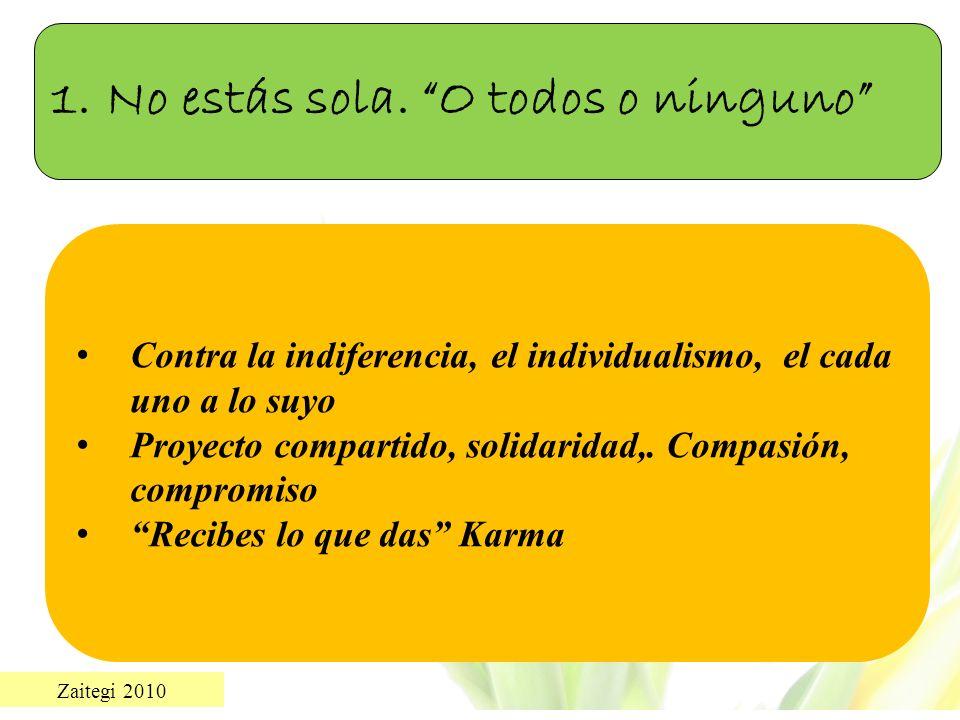 Zaitegi 2010 Contra la indiferencia, el individualismo, el cada uno a lo suyo Proyecto compartido, solidaridad,. Compasión, compromiso Recibes lo que