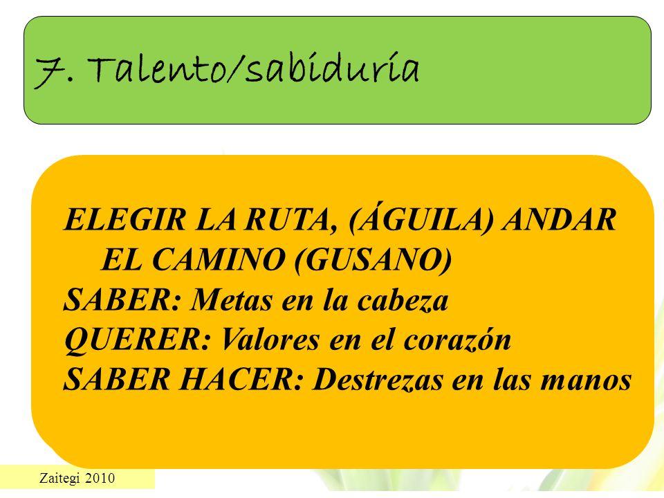 Zaitegi 2010 7. Talento/sabiduría ELEGIR LA RUTA, (ÁGUILA) ANDAR EL CAMINO (GUSANO) SABER: Metas en la cabeza QUERER: Valores en el corazón SABER HACE
