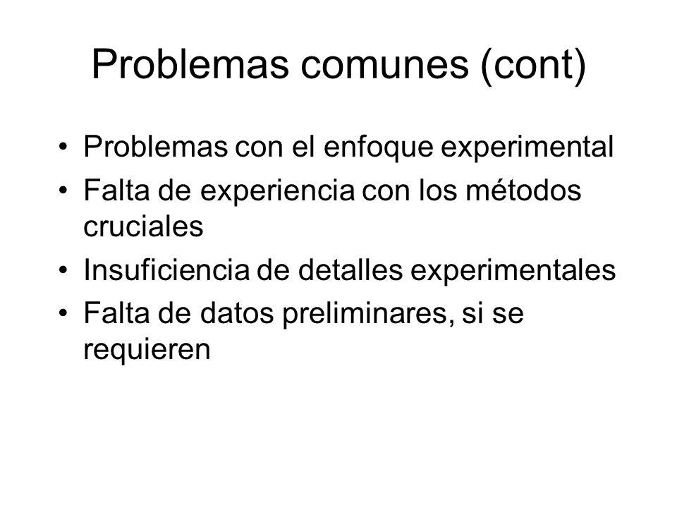 Problemas comunes (cont) Problemas con el enfoque experimental Falta de experiencia con los métodos cruciales Insuficiencia de detalles experimentales