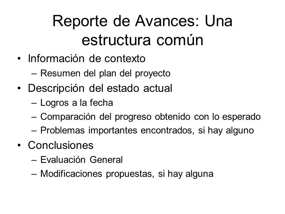 Reporte de Avances: Una estructura común Información de contexto –Resumen del plan del proyecto Descripción del estado actual –Logros a la fecha –Comp