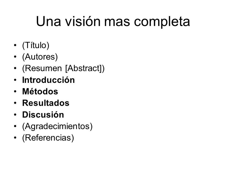 Una visión mas completa (Título) (Autores) (Resumen [Abstract]) Introducción Métodos Resultados Discusión (Agradecimientos) (Referencias)