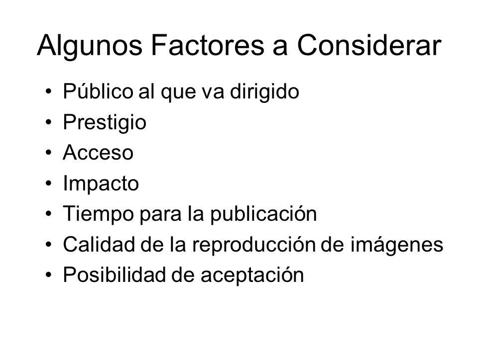 Algunos Factores a Considerar Público al que va dirigido Prestigio Acceso Impacto Tiempo para la publicación Calidad de la reproducción de imágenes Posibilidad de aceptación