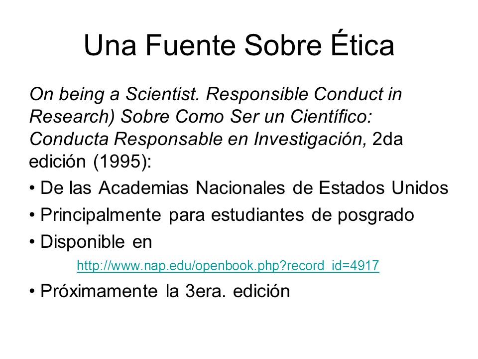 Una Fuente Sobre Ética On being a Scientist.