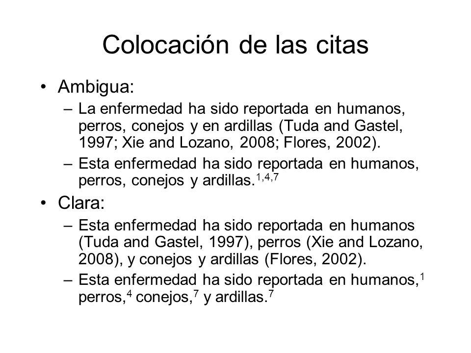 Colocación de las citas Ambigua: –La enfermedad ha sido reportada en humanos, perros, conejos y en ardillas (Tuda and Gastel, 1997; Xie and Lozano, 2008; Flores, 2002).