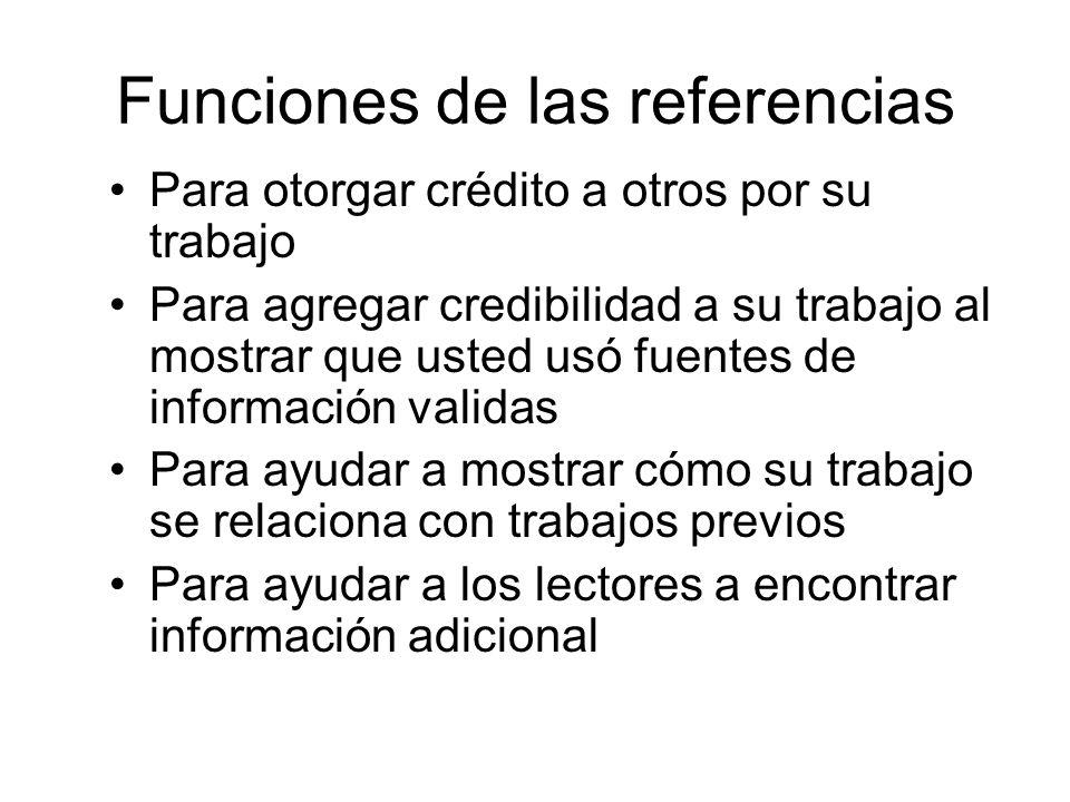 Funciones de las referencias Para otorgar crédito a otros por su trabajo Para agregar credibilidad a su trabajo al mostrar que usted usó fuentes de in