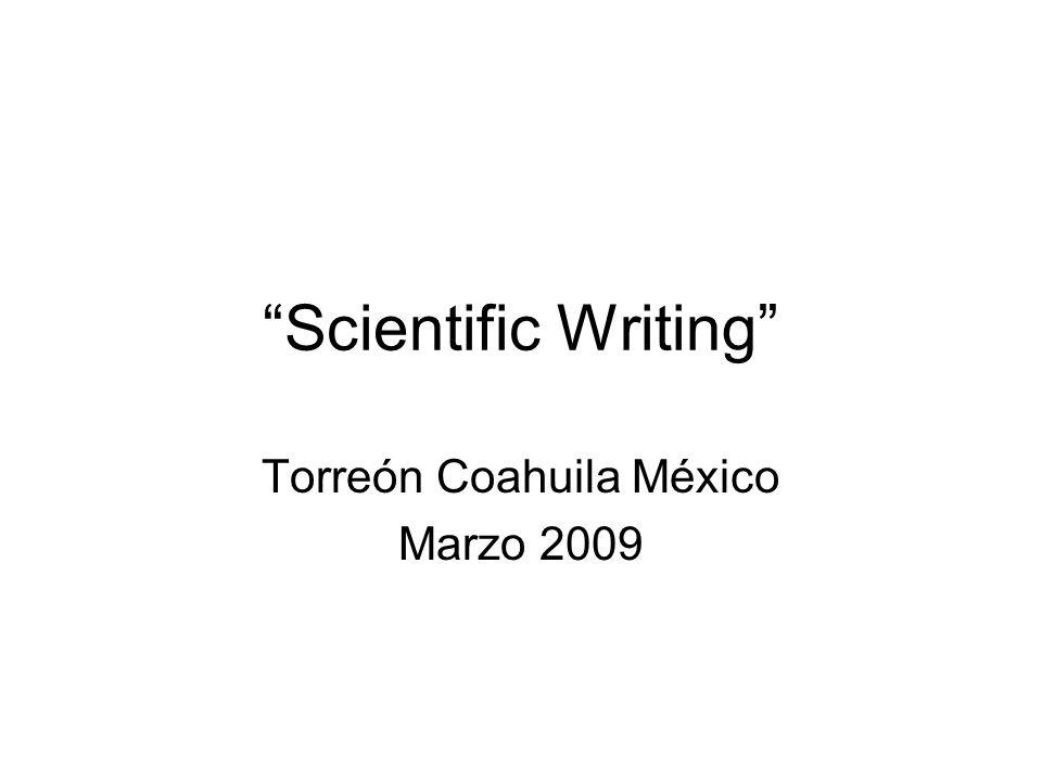 Scientific Writing Torreón Coahuila México Marzo 2009