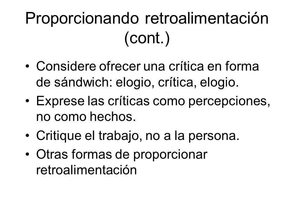 Proporcionando retroalimentación (cont.) Considere ofrecer una crítica en forma de sándwich: elogio, crítica, elogio.