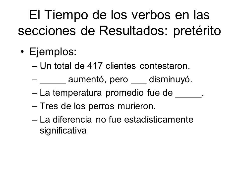 El Tiempo de los verbos en las secciones de Resultados: pretérito Ejemplos: –Un total de 417 clientes contestaron. –_____ aumentó, pero ___ disminuyó.