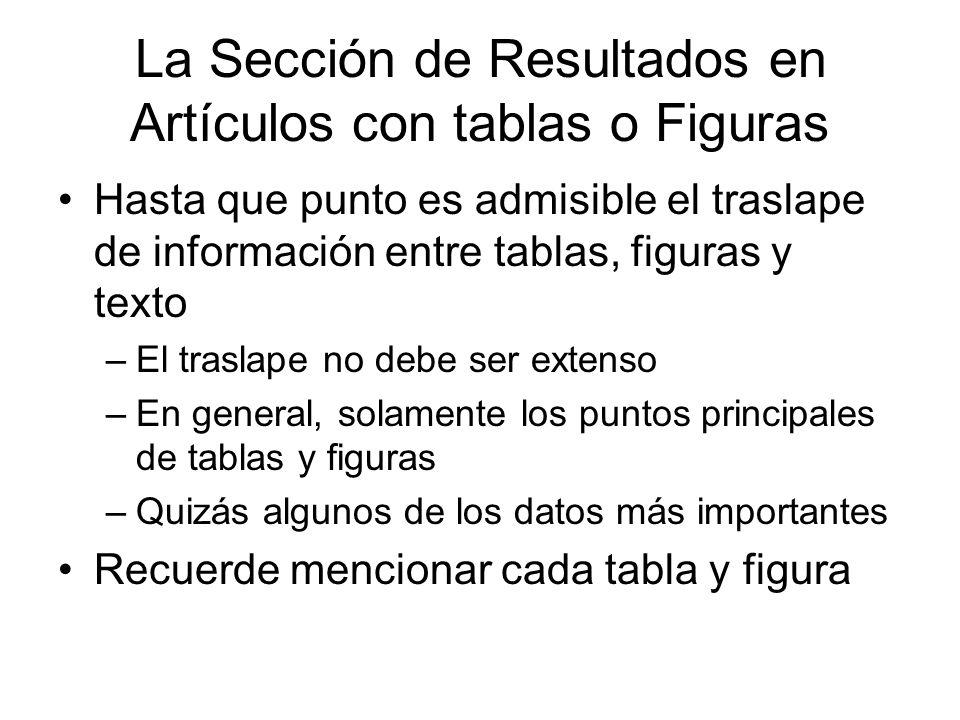 La Sección de Resultados en Artículos con tablas o Figuras Hasta que punto es admisible el traslape de información entre tablas, figuras y texto –El t