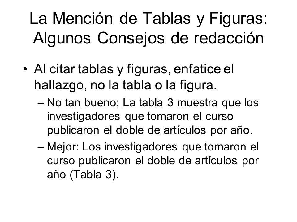 La Mención de Tablas y Figuras: Algunos Consejos de redacción Al citar tablas y figuras, enfatice el hallazgo, no la tabla o la figura. –No tan bueno: