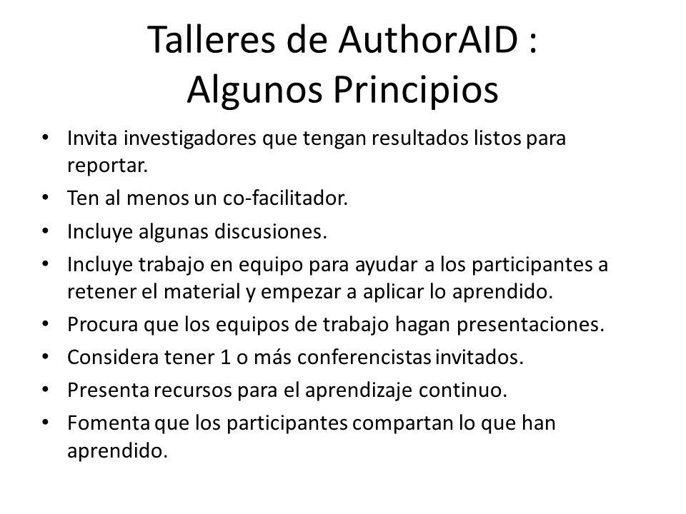 Talleres de AuthorAID : Algunos Principios Invita investigadores que tengan resultados listos para reportar.
