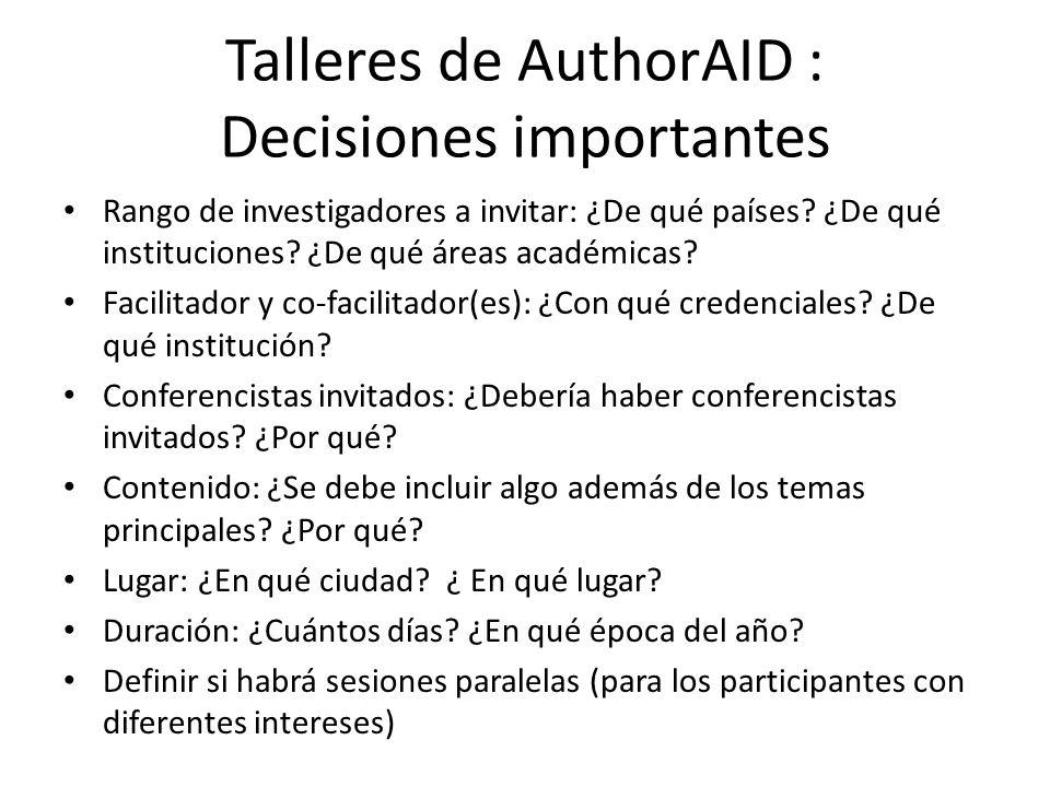 Talleres de AuthorAID : Decisiones importantes Rango de investigadores a invitar: ¿De qué países.