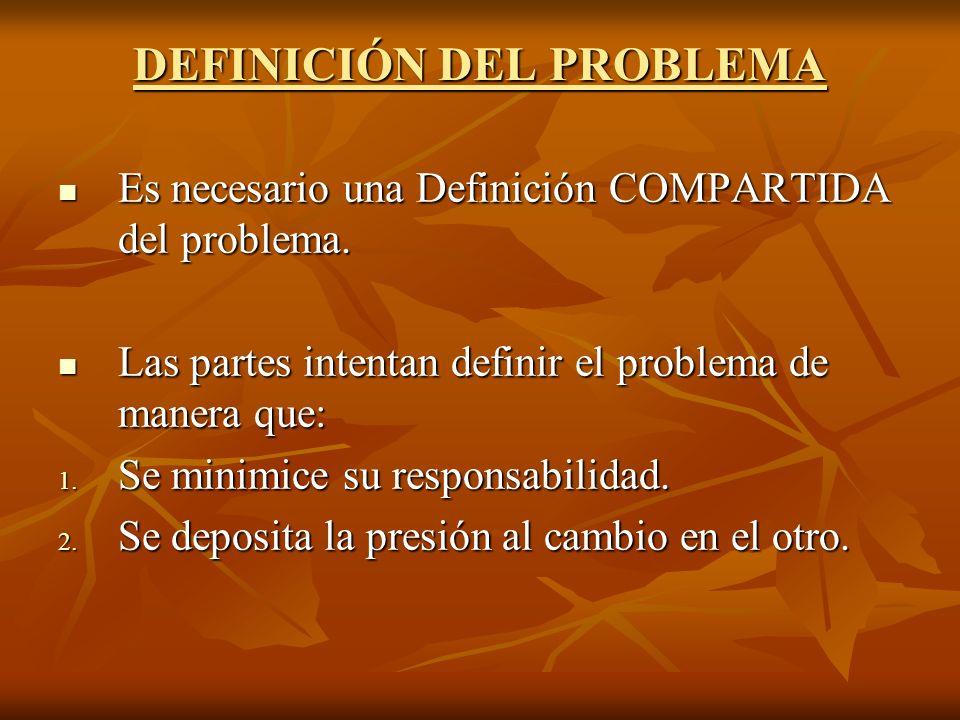 DEFINICIÓN DEL PROBLEMA Es necesario una Definición COMPARTIDA del problema. Es necesario una Definición COMPARTIDA del problema. Las partes intentan