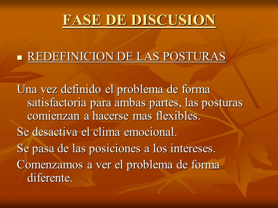 FASE DE DISCUSION REDEFINICION DE LAS POSTURAS REDEFINICION DE LAS POSTURAS Una vez definido el problema de forma satisfactoria para ambas partes, las