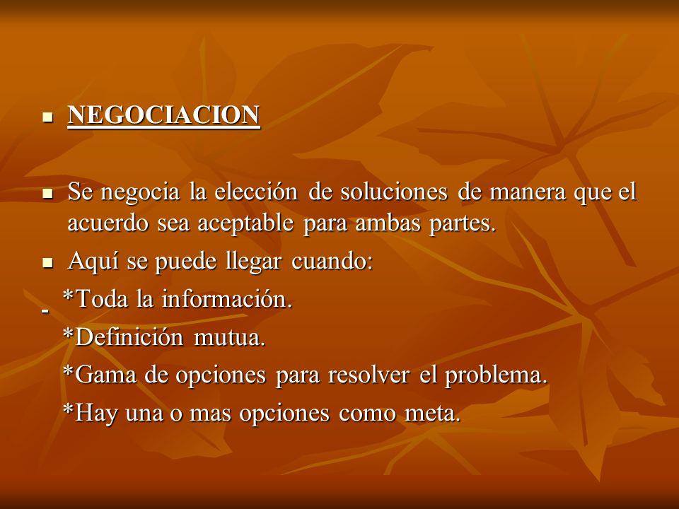 NEGOCIACION NEGOCIACION Se negocia la elección de soluciones de manera que el acuerdo sea aceptable para ambas partes. Se negocia la elección de soluc