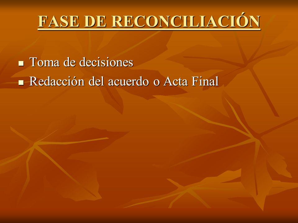 FASE DE RECONCILIACIÓN Toma de decisiones Toma de decisiones Redacción del acuerdo o Acta Final Redacción del acuerdo o Acta Final