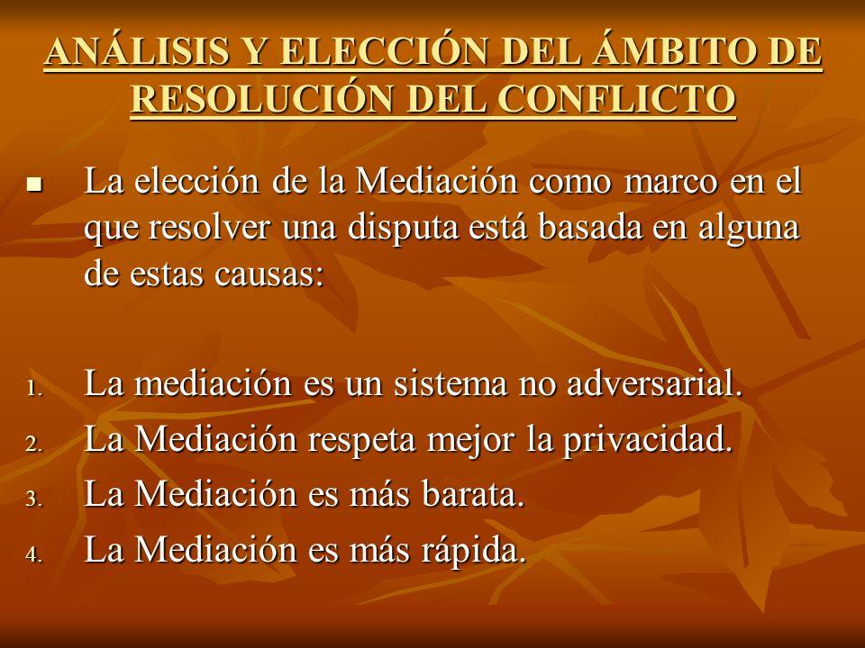 ANÁLISIS Y ELECCIÓN DEL ÁMBITO DE RESOLUCIÓN DEL CONFLICTO La elección de la Mediación como marco en el que resolver una disputa está basada en alguna