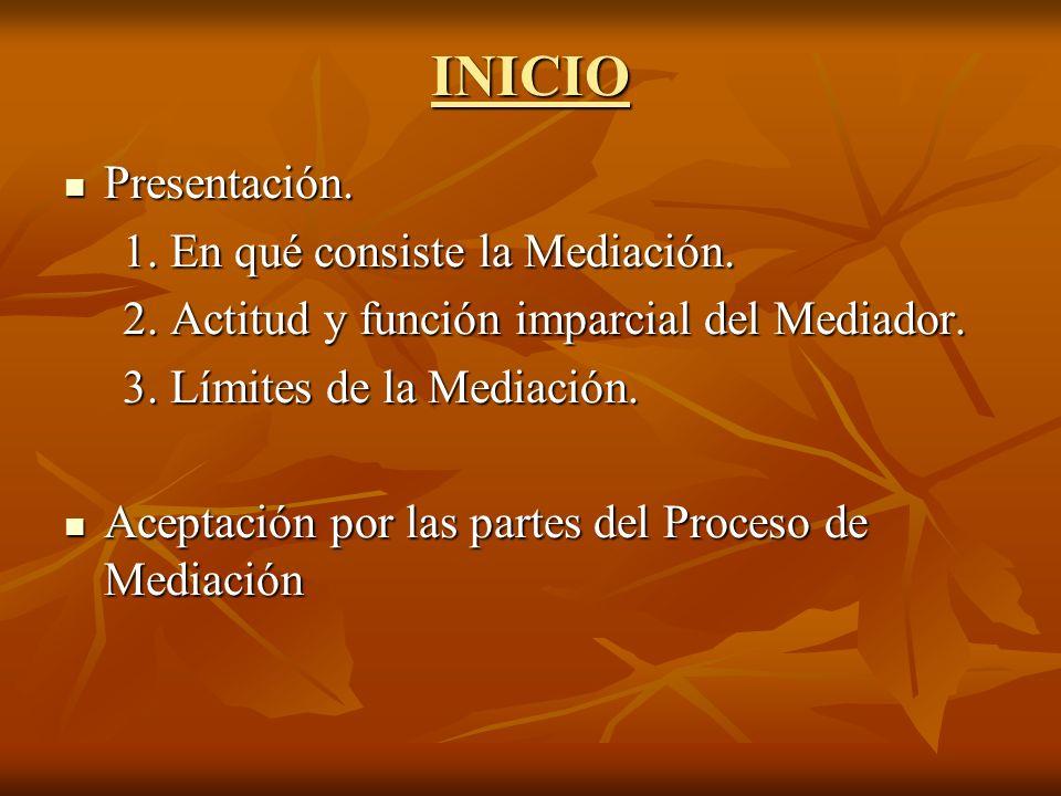 INICIO Presentación. Presentación. 1. En qué consiste la Mediación. 1. En qué consiste la Mediación. 2. Actitud y función imparcial del Mediador. 2. A