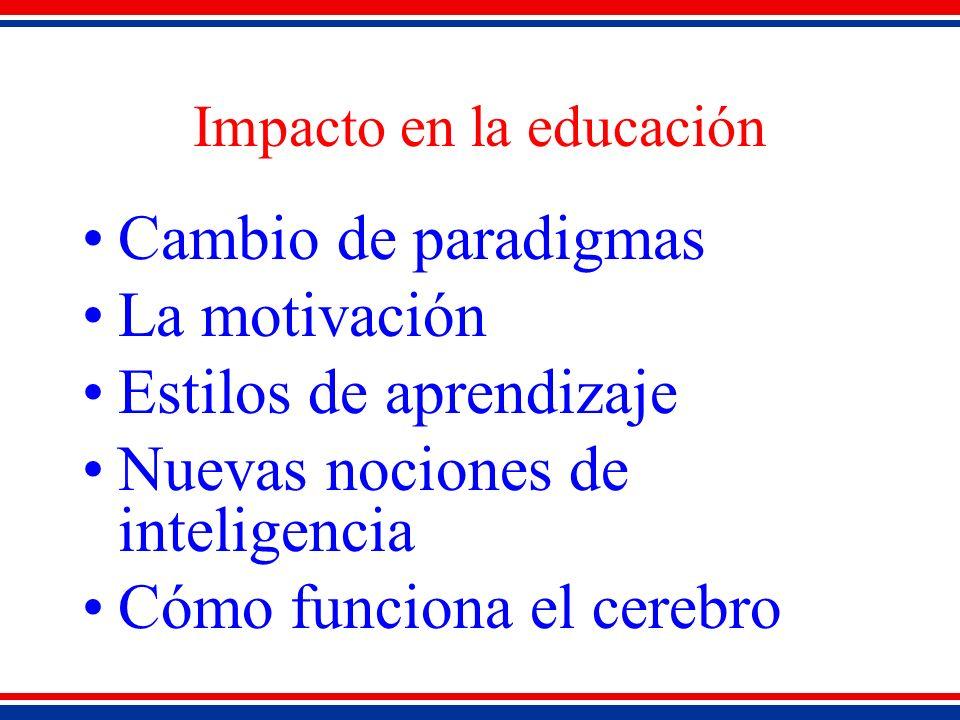 Impacto en la educación Cambio de paradigmas La motivación Estilos de aprendizaje Nuevas nociones de inteligencia Cómo funciona el cerebro