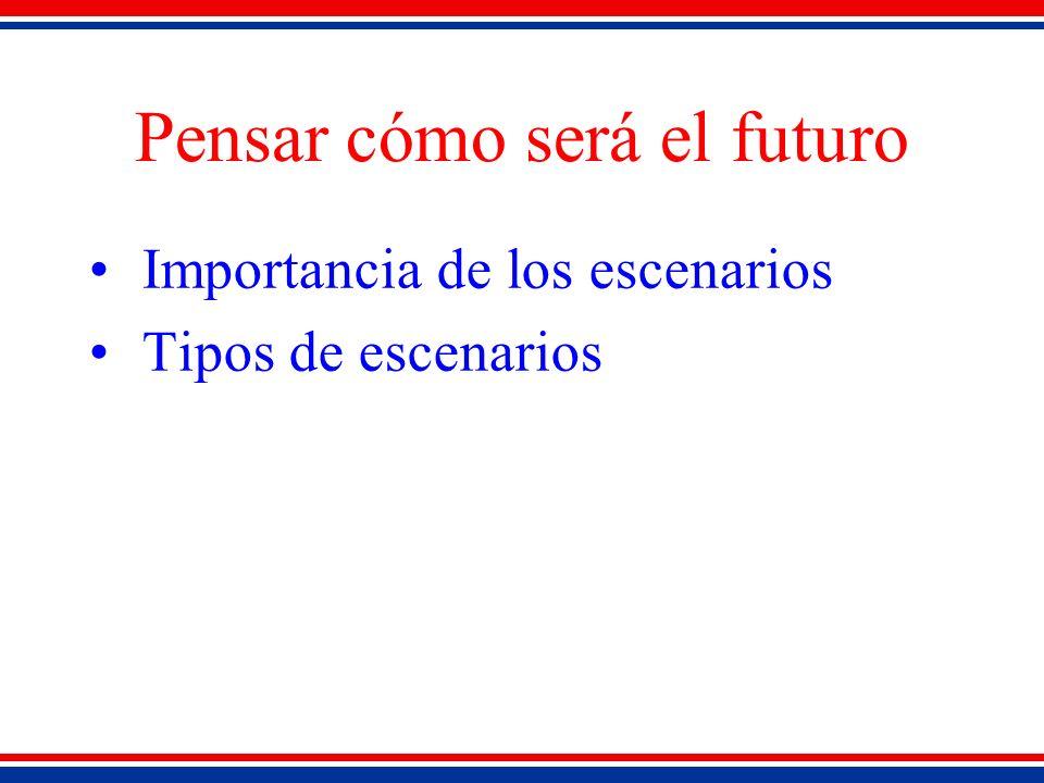 Pensar cómo será el futuro Importancia de los escenarios Tipos de escenarios