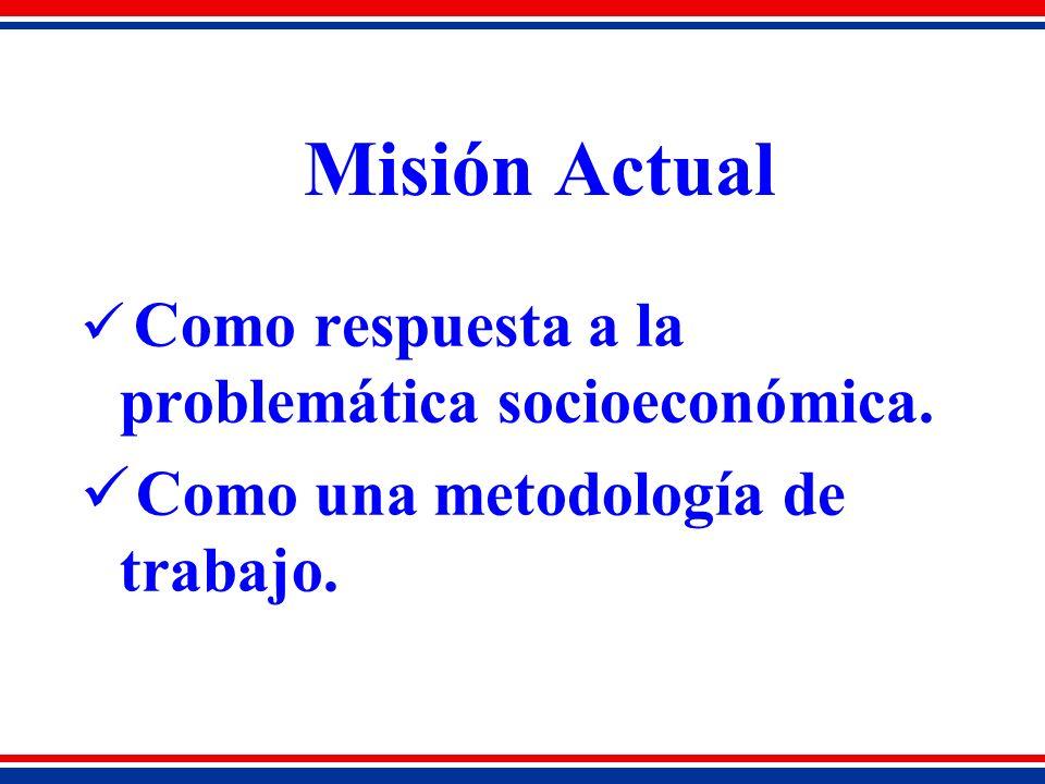 Misión Actual Como respuesta a la problemática socioeconómica. Como una metodología de trabajo.