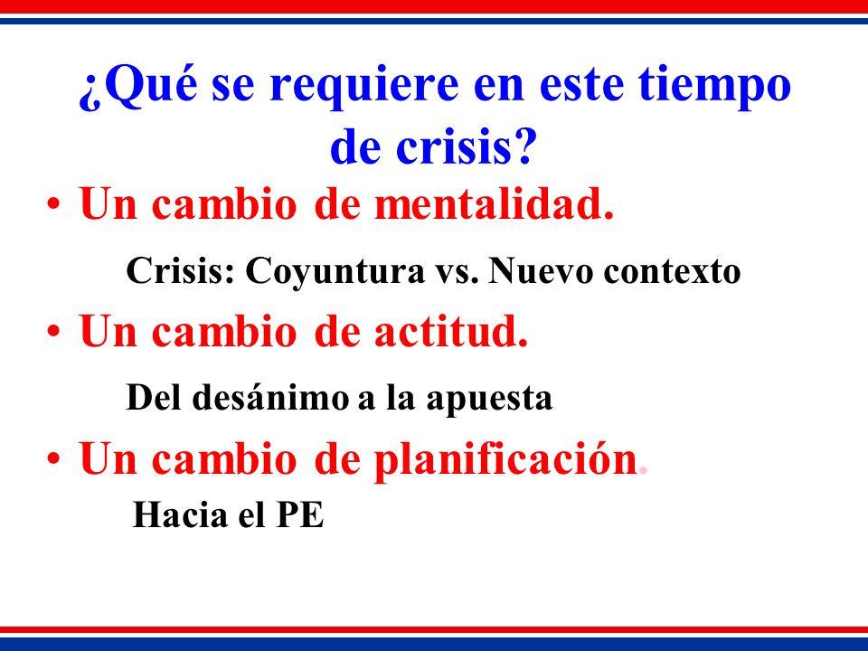 ¿Qué se requiere en este tiempo de crisis. Un cambio de mentalidad.