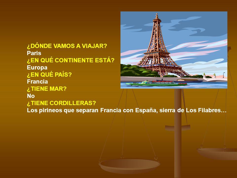 ¿DÓNDE VAMOS A VIAJAR? Paris ¿EN QUÉ CONTINENTE ESTÁ? Europa ¿EN QUÉ PAÍS? Francia ¿TIENE MAR? No ¿TIENE CORDILLERAS? Los pirineos que separan Francia