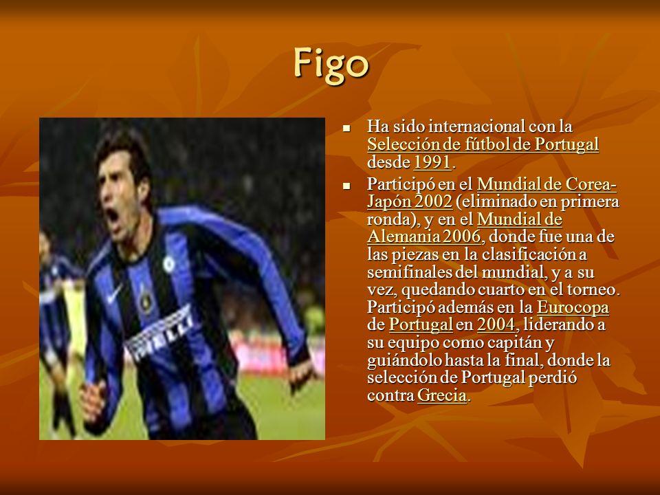 Figo Ha sido internacional con la Selección de fútbol de Portugal desde 1991.