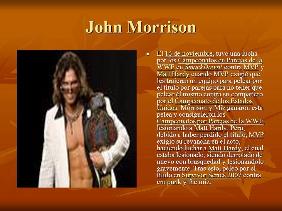 John Morrison El 16 de noviembre, tuvo una lucha por los Campeonatos en Parejas de la WWE en SmackDown.