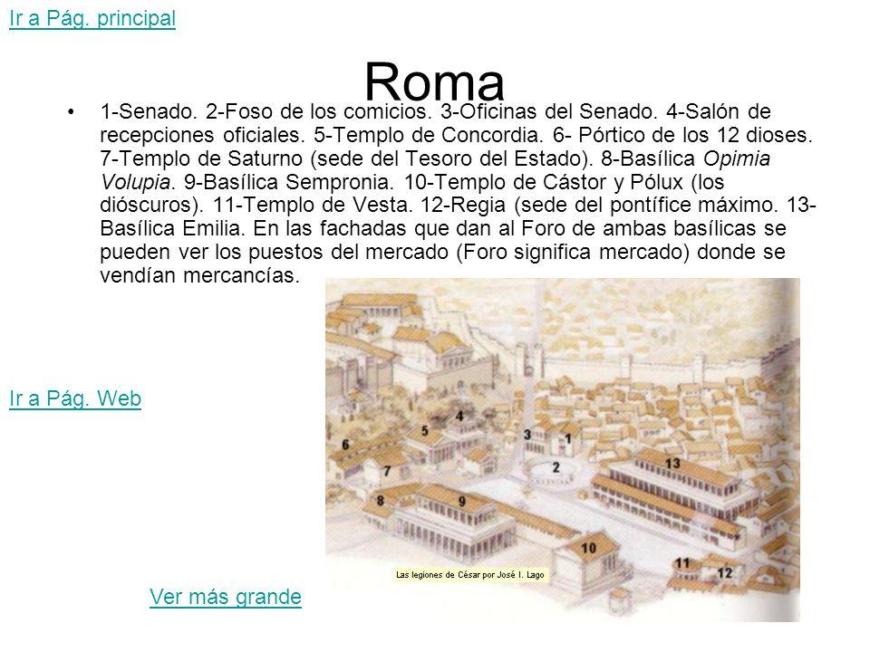 Roma 1-Senado. 2-Foso de los comicios. 3-Oficinas del Senado. 4-Salón de recepciones oficiales. 5-Templo de Concordia. 6- Pórtico de los 12 dioses. 7-