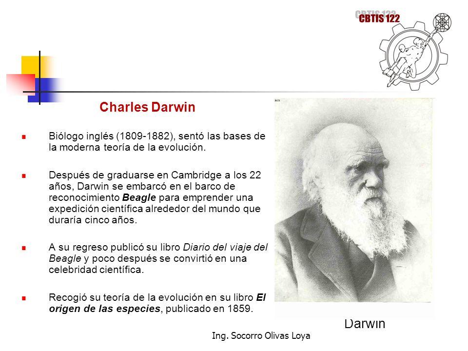 Charles Darwin Biólogo inglés (1809-1882), sentó las bases de la moderna teoría de la evolución. Después de graduarse en Cambridge a los 22 años, Darw
