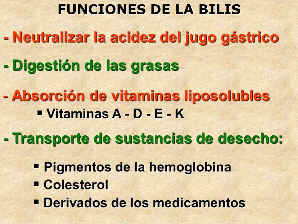 FUNCIONES DE LA BILIS - Neutralizar la acidez del jugo gástrico - Digestión de las grasas - Transporte de sustancias de desecho: Pigmentos de la hemog